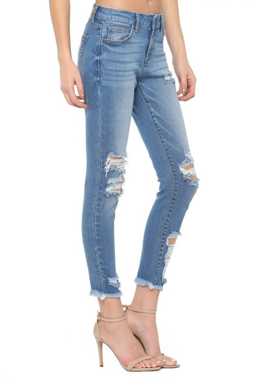 Good Intentions Mid Rise Distressed Skinny Jeans