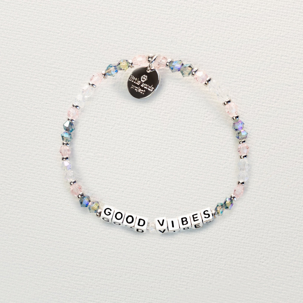 Little Words Project 'Good Vibes'  Bracelet - Crystal Silver Collection With Silver Letters