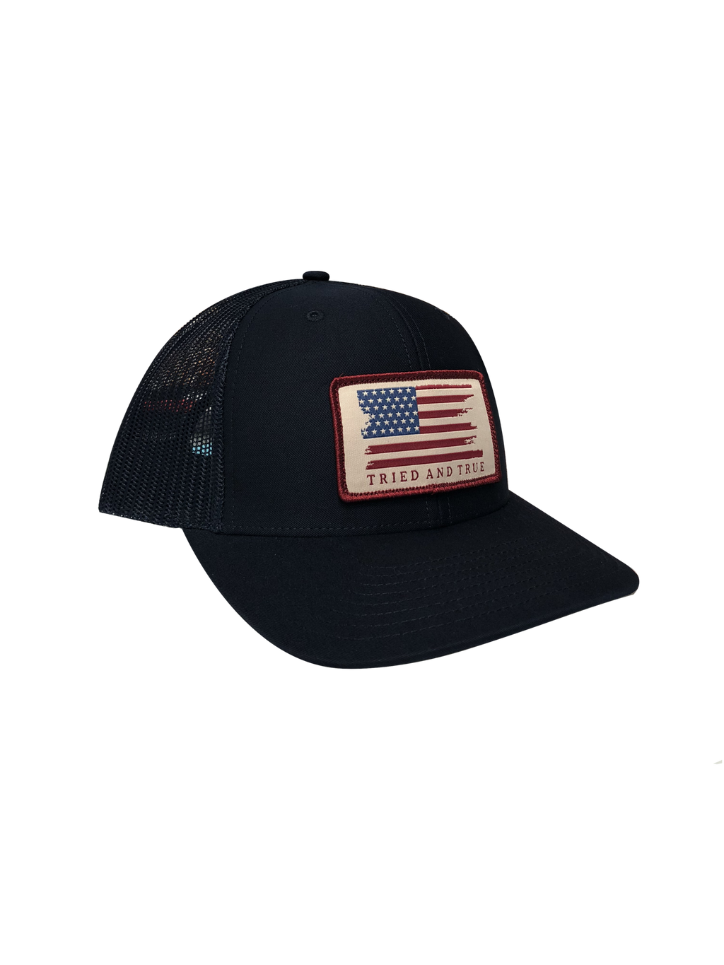 Tried and True 'Flag' Woven Patch Trucker Hat -Navy