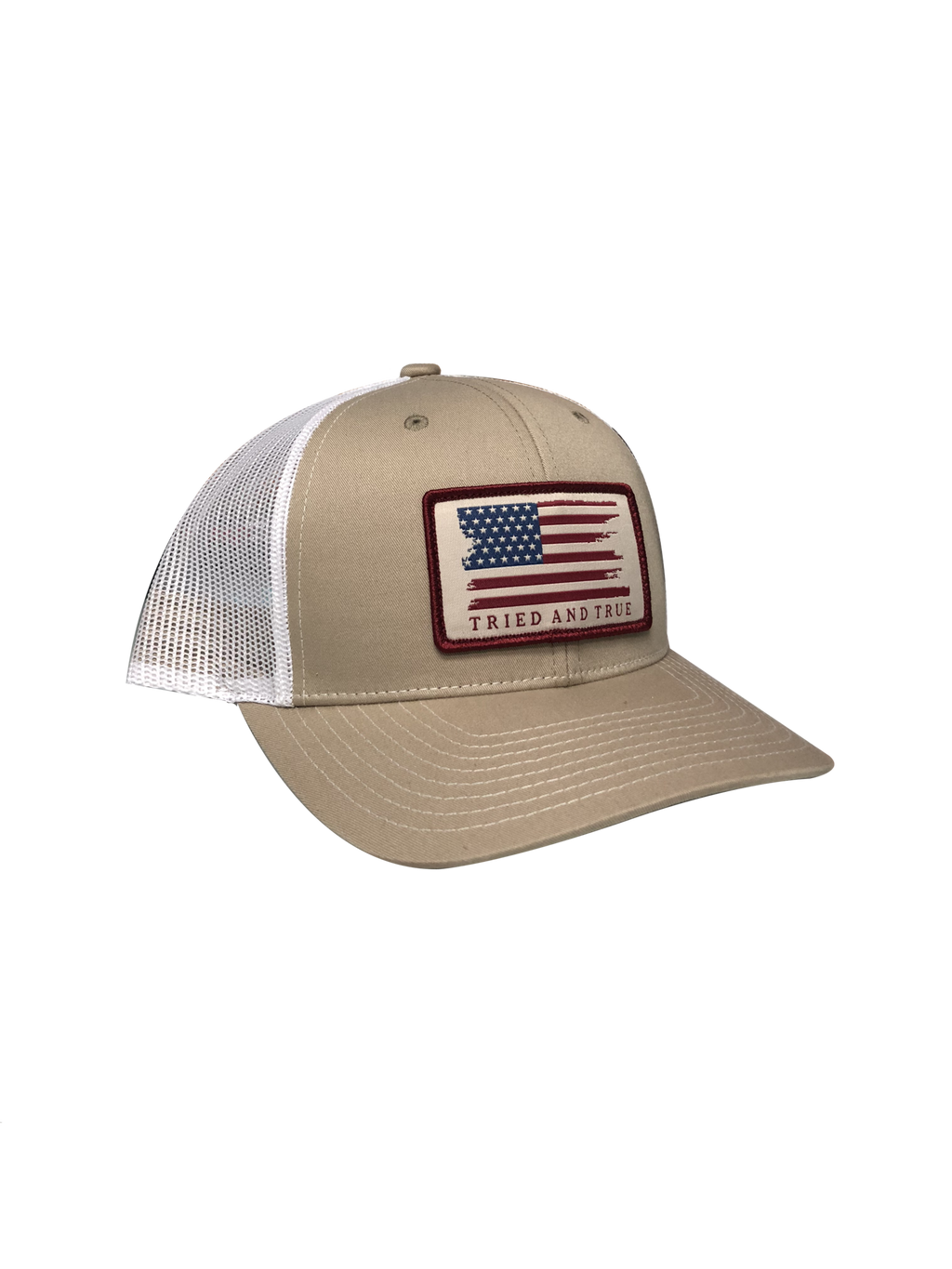 Tried and True 'Flag' Woven Patch Trucker Hat - Khaki/White