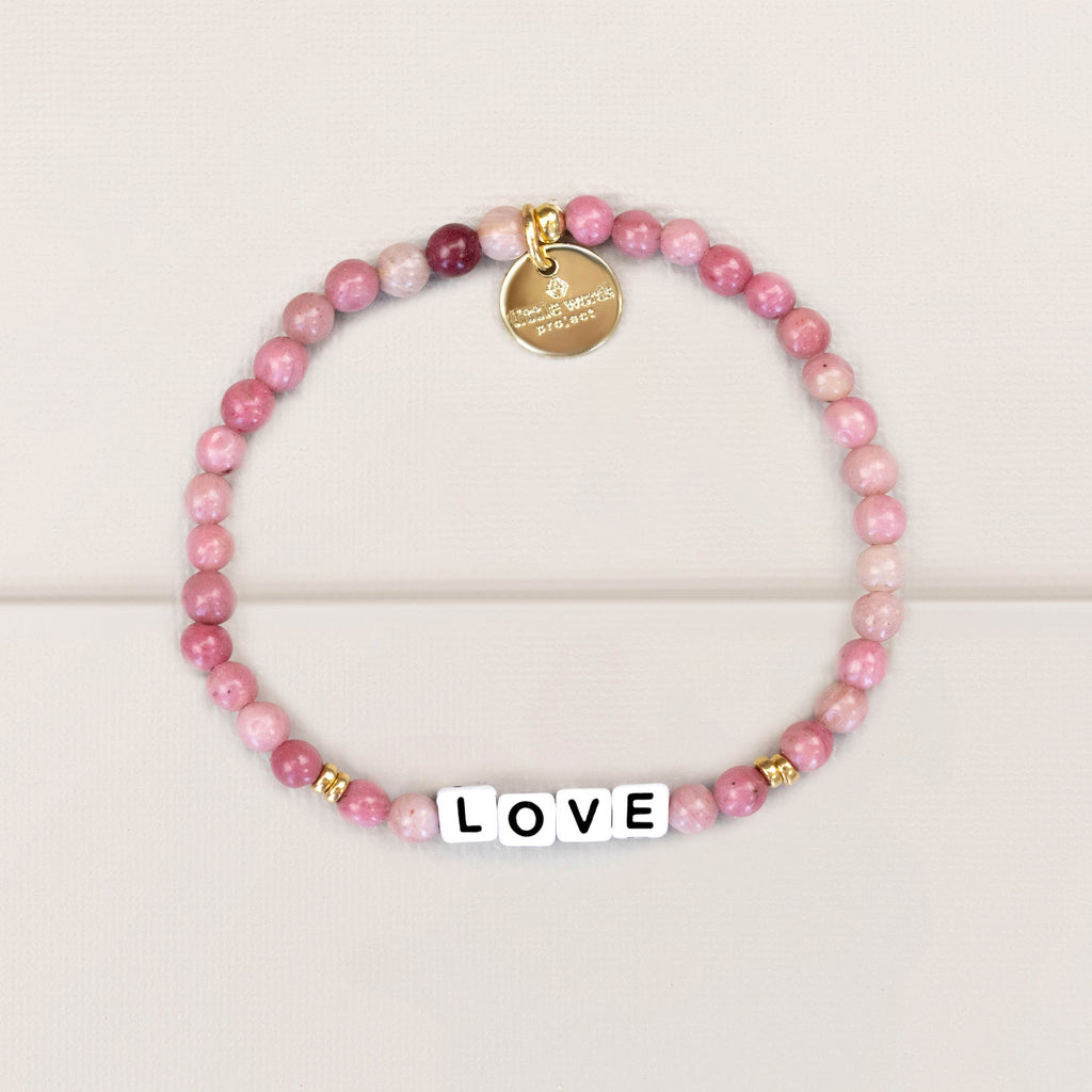 Little Words Project ' Love' Bracelet - Stone & Gold Collection With White Letters
