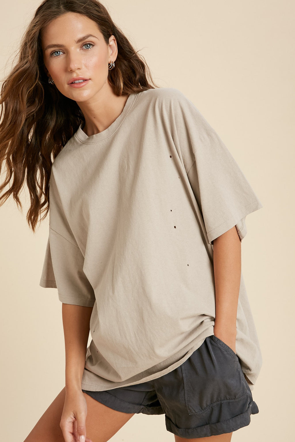 oversized distressed nude tee