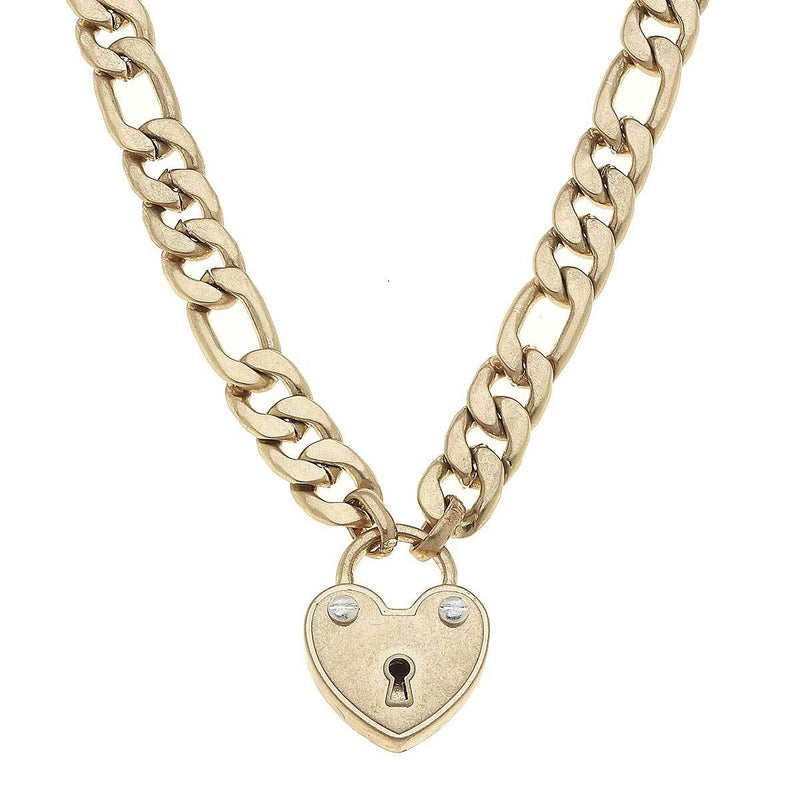 heart padlock chain necklace