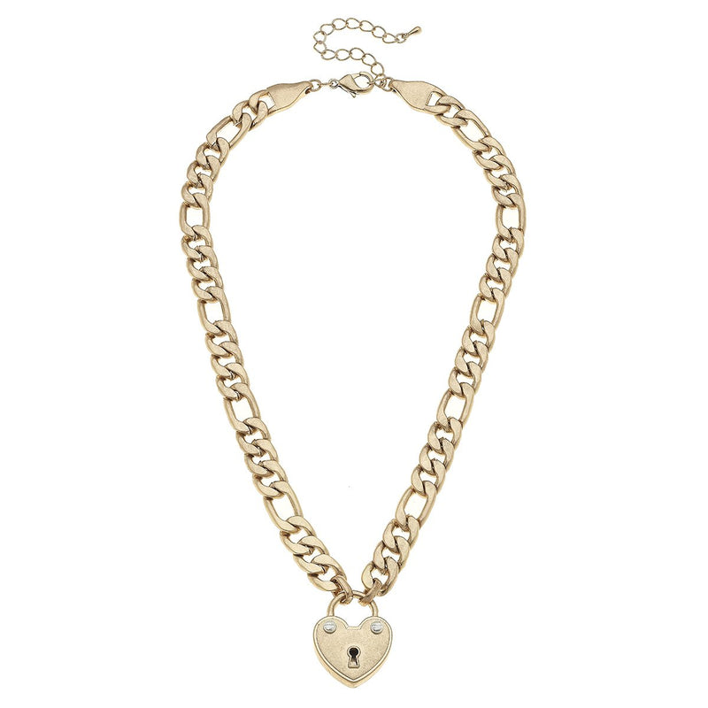 Canvas Jewelry Whitney Padlock Chain Worn Gold Necklace