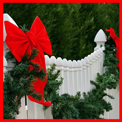 Christmas garland on fence