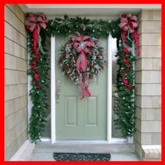 Christmas garland on front door