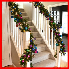 Christmas garland on staircase