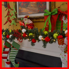 Christmas garlands on mantle