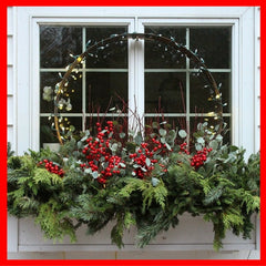 Christmas garlands in window