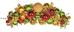 Red Green and Gold Ornament Cluster