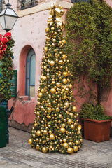 12' Monarch Tree with gold bauble and pinecone ornamentation