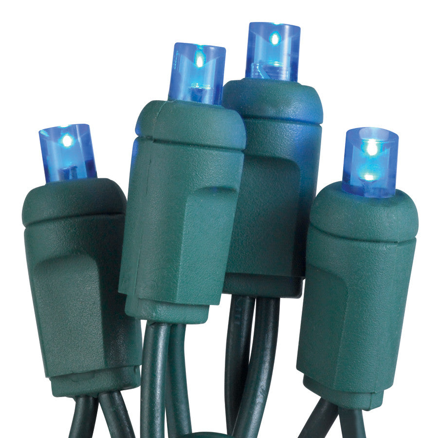 "50-Light LED Blue Bulb/Green Wire Mini Lights. 6"" Centers. Case Pack of 24 Sets"