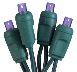 "50-Light LED Purple Bulb/Green Wire. 6"" Centers. Case Pack of 24 Sets"