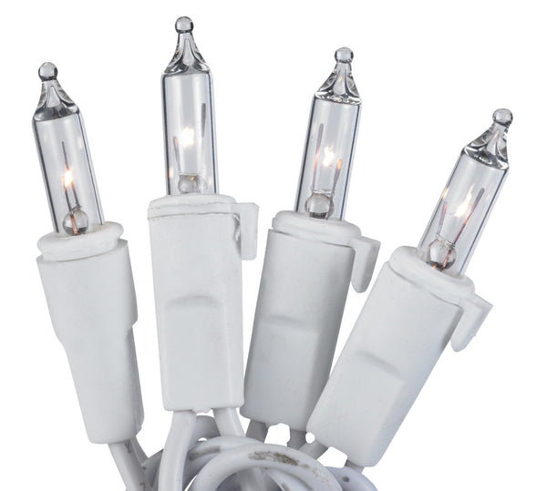 "50-Light Clear Bulb/White Wire. 5.5"" Centers. Case Pack (24 Sets)"