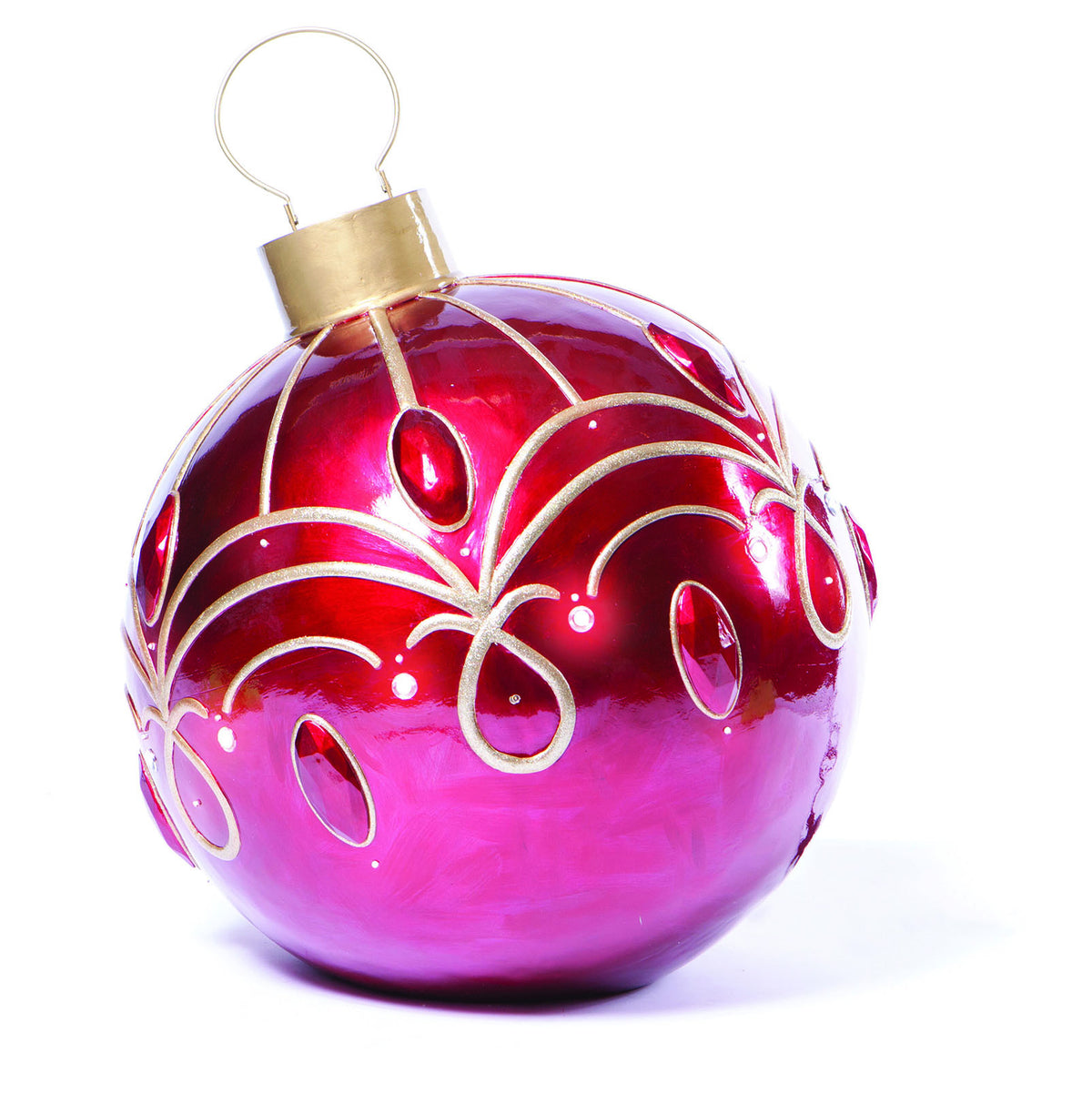 Red LED Lit Fiberglass Christmas Ornament