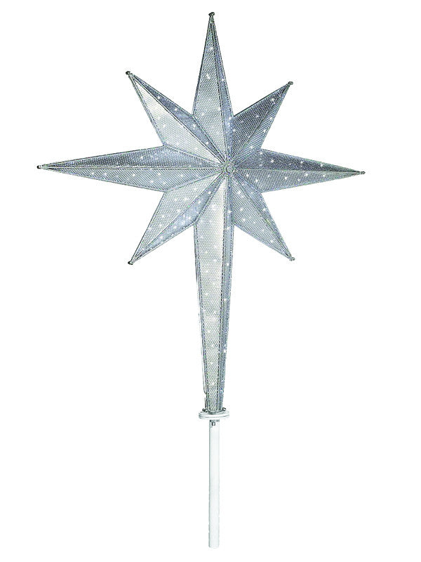 Silver Moravian Led Tree Top Star Commercial Christmas