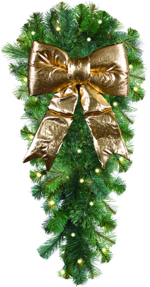 natural 3 column spray with gold structural bow - Christmas Column Decorations