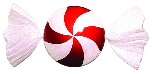 Giant Flat Red and White Candy Ornament