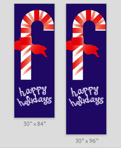 Candy Cane Happy Holidays Light Pole Banner