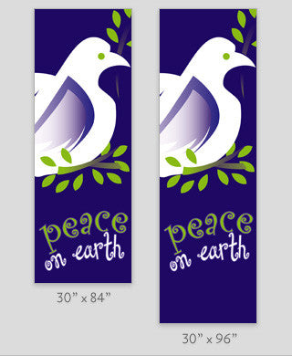 Dove with Peace on Earth Light Pole Banner