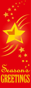 Season's Greetings Star Light Pole Banner (Red)