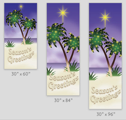 Palm Tree Christmas Light Pole Banner