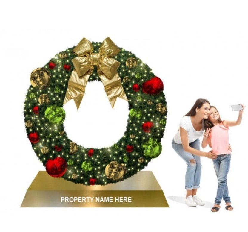 Giant Wreath on Base Photo Op Commercial Christmas Display