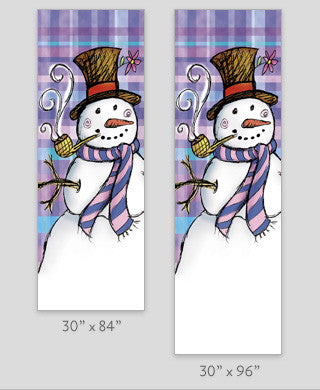Plaid Snowman Light Pole Banner