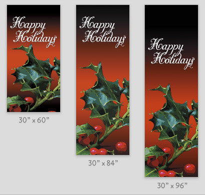 Happy Holidays Holly Light Pole Banner