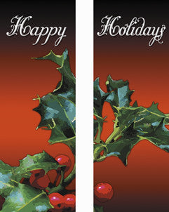 Happy Holidays Holly Light Pole Banner (Double Set)
