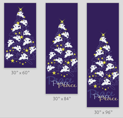 Peace Doves Holiday Tree Light Pole Banner