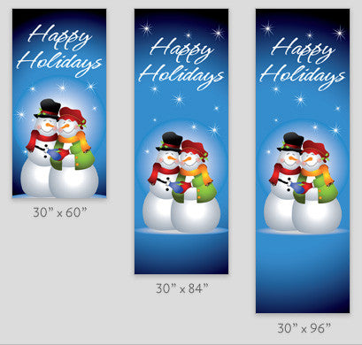 Happy Snow Couple Light Pole Banner