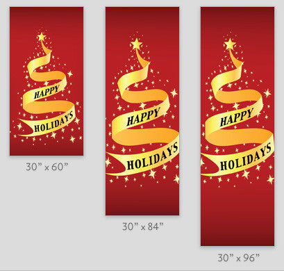 Happy Holidays Ribbon Tree Light Pole Banner