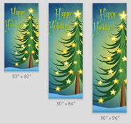 Cartoon Tree & Glowing Stars Light Pole Banner