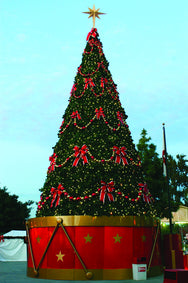 Outdoor Commercial Christmas Tree Decorated with Red & Gold Ornament Stringers