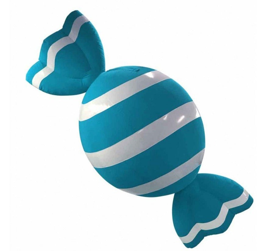 Giant Blue and White Holiday Candy Inflatable Decoration