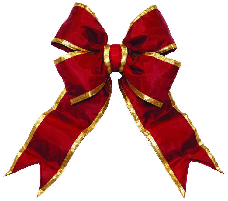 Burgundy Nylon Bow with Gold Trim