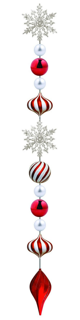 8' Candy Ornament Drop with Red Finial