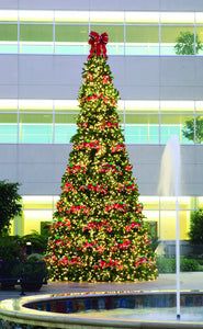 Commercial Tower Christmas Tree with Giant Three Bow Tree Topper
