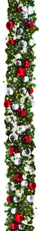 Candy Cane Style Decorated Garland 10'