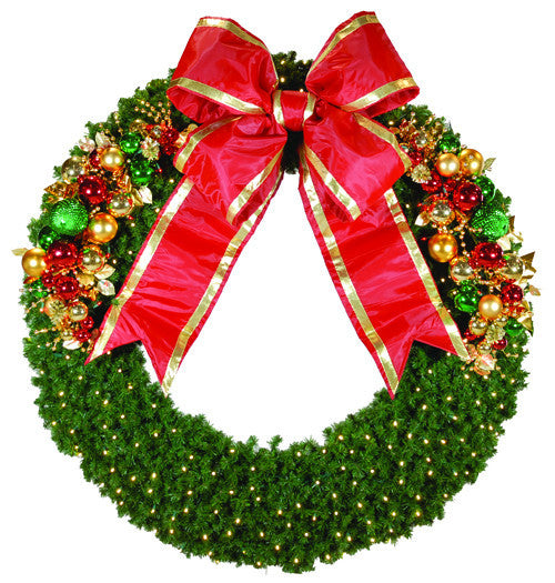 Commercial Wreath decorated with ornament clusters