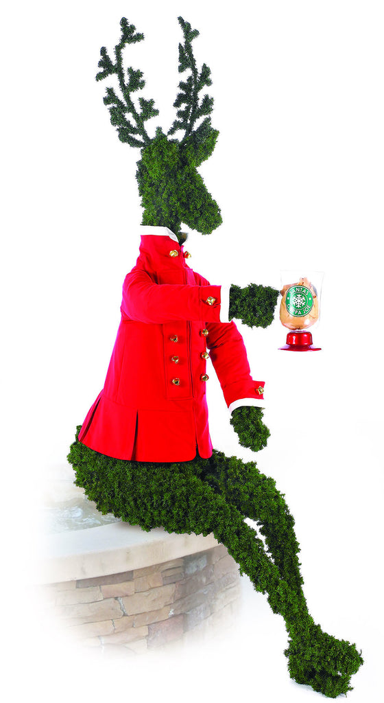 Sitting Topiary Deer Greeter Christmas Prop
