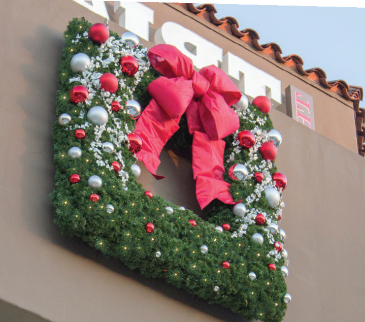 Custom Decorated Square Christmas Wreath Outdoor