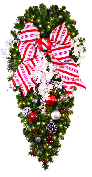 "Decorated 4' Candy Cane Spray with 18"" Red Bow"