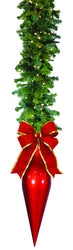 "Garland Drop with 24"" Red Finial & 18"" Red Bow"