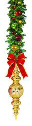 "Garland Drop with 44"" Gold Finial & 18"" Red Bow"