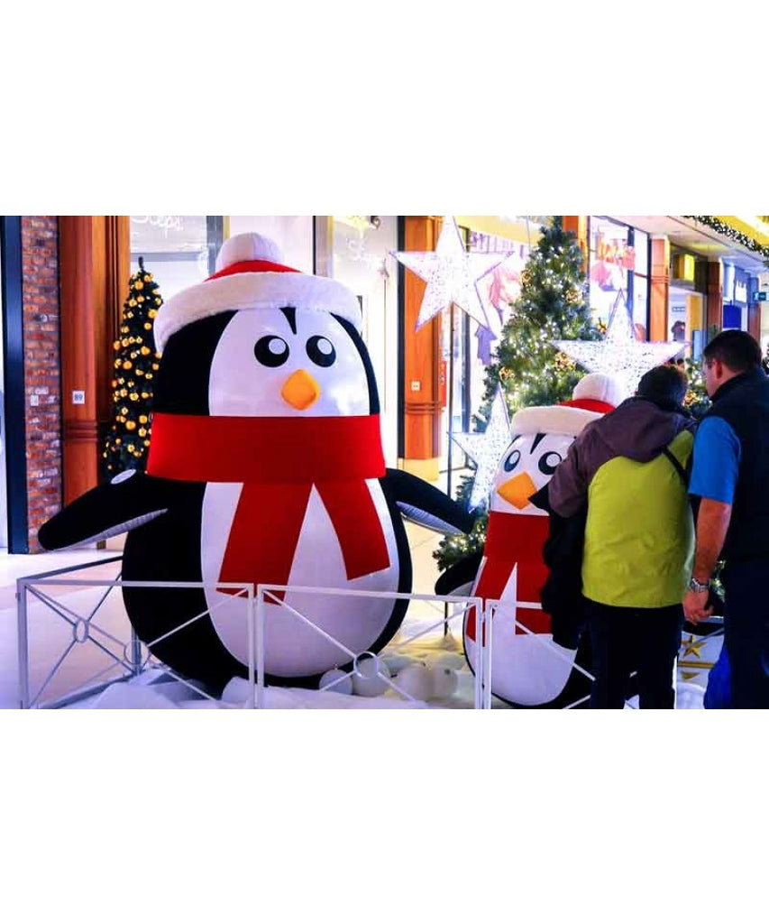 Giant Inflatable Penguin Santa Set Mall Decoration