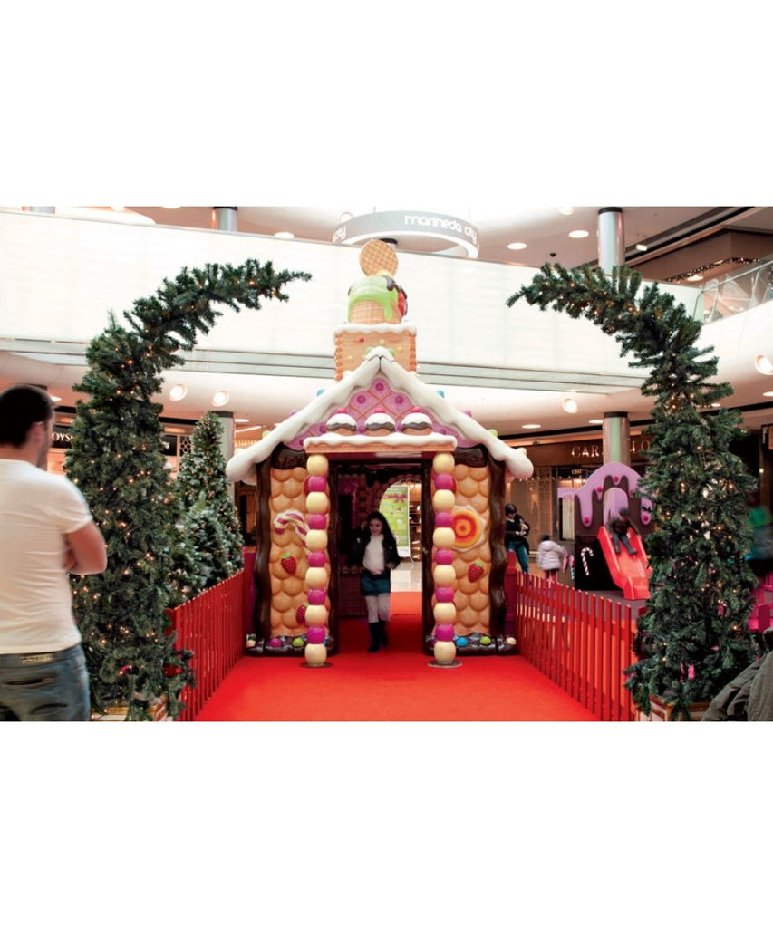 Mall Gingerbread Santa House Display