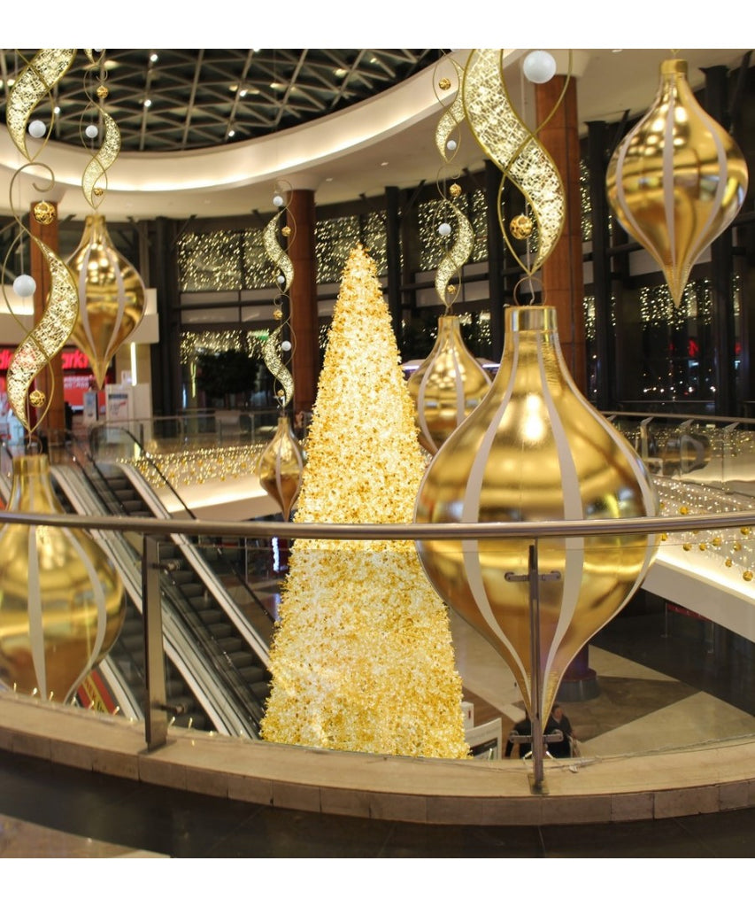 Mall Center Court Holiday Decor with Giant Inflatable Ornaments