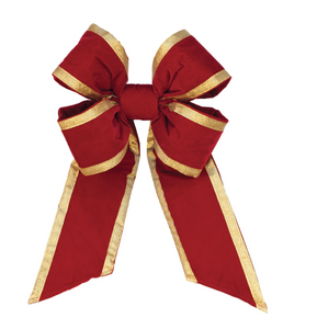Holiday Red Velvet Bow - Gold Trim
